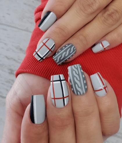gray plaid winter nail design  blush  pearls